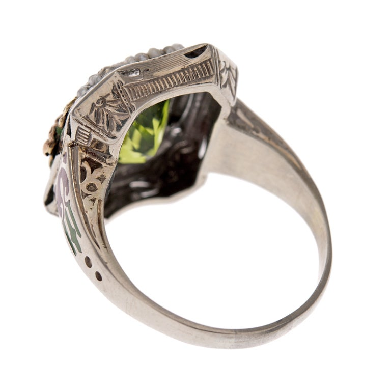 Women's Ornate Peridot Ring with Enamel and Natural Pearls