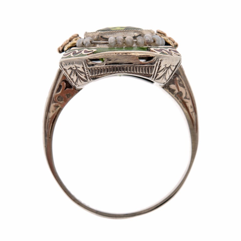 Ornate Peridot Ring with Enamel and Natural Pearls 1