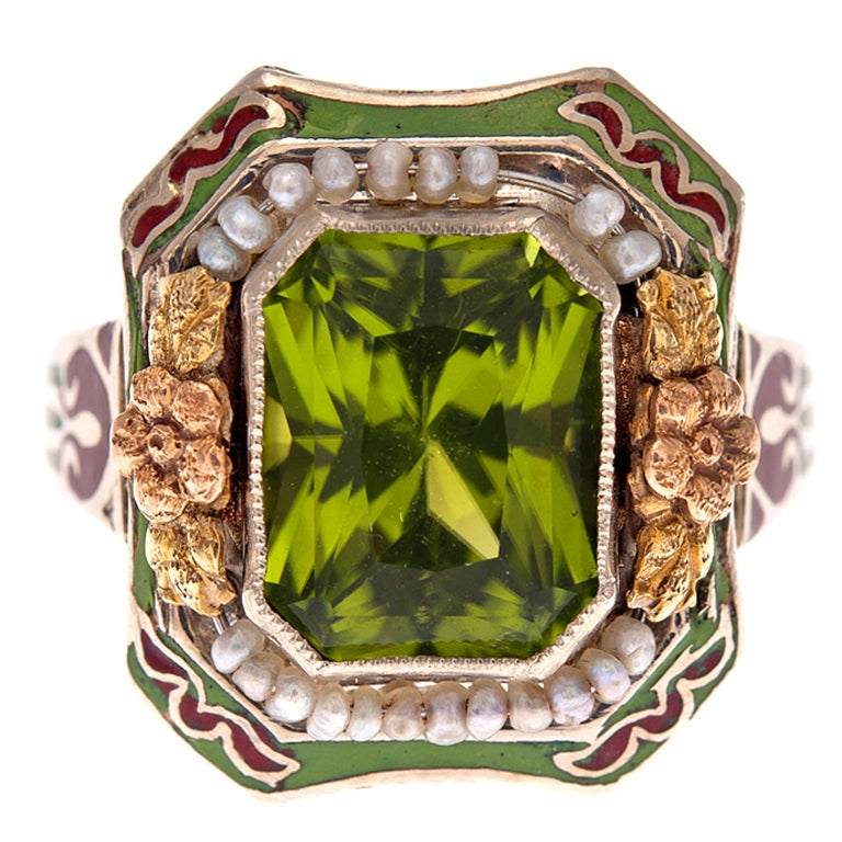 Ornate Peridot Ring with Enamel and Natural Pearls