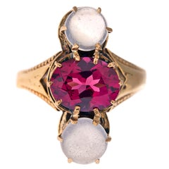 """North South"" Three-Stone Ring with Garnet and Moonstone"