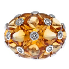 Honeycomb Citrine and Diamond Ring