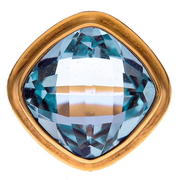 blue topaz yellow gold ring at 1stdibs