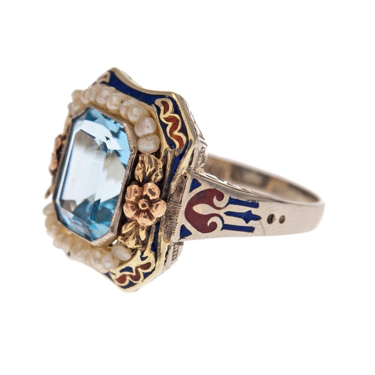american aquamarine seed pearl and enamel antique ring at