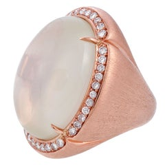 51 Carat Moonstone Diamond Rose Gold Florentine Engraved Ring
