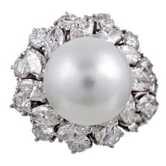 1950's Platinum Pearl and Diamond Asymmetric Ring