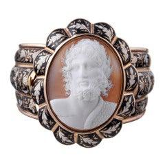 Museum Quality Victorian Enamel Zeus Cameo Bracelet