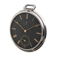 ROLEX Colossal Stainless Steel Art Deco Pocketwatch