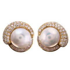 Lustrous Pearl Earrings with Round and Baguette Diamonds
