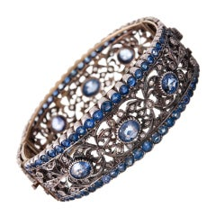 Important Victorian Bangle with Diamonds and Sapphires
