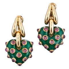 Gold Enamel Puff Heart Earrings with Pink Tourmaline