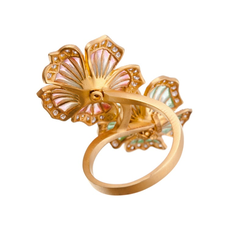 Masriera Barcelona Plique a Jour Enamel Diamond Gold Ring In Excellent Condition For Sale In Carmel-by-the-Sea, CA