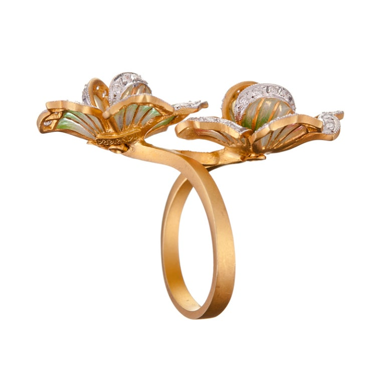 Women's Masriera Barcelona Plique a Jour Enamel Diamond Gold Ring For Sale