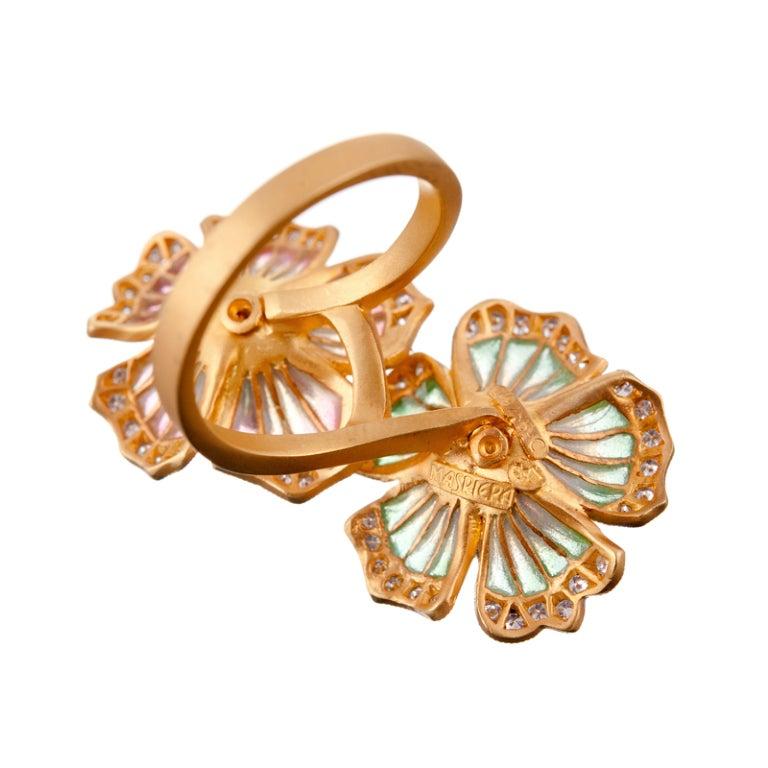 Masriera Barcelona Plique a Jour Enamel Diamond Gold Ring For Sale 1