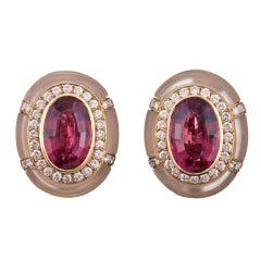 Sophisticated Rubelite, Diamond and Rock Crystal Earrings