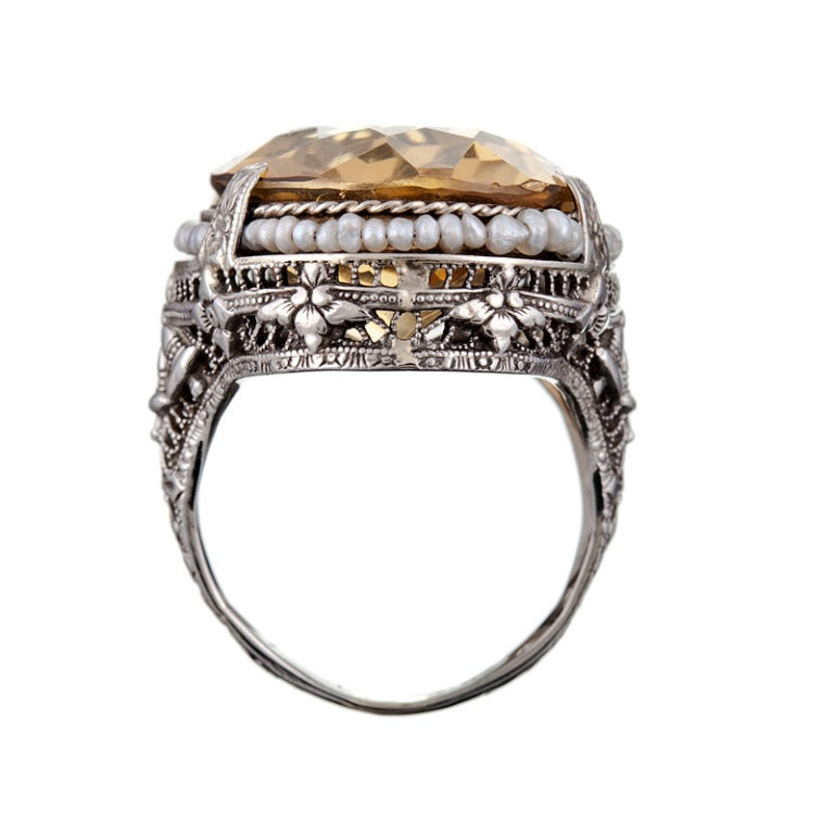 1920s white gold filigree ring with seed pearls and