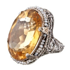 1920s White Gold Filigree Ring with Seed Pearls and Citrine