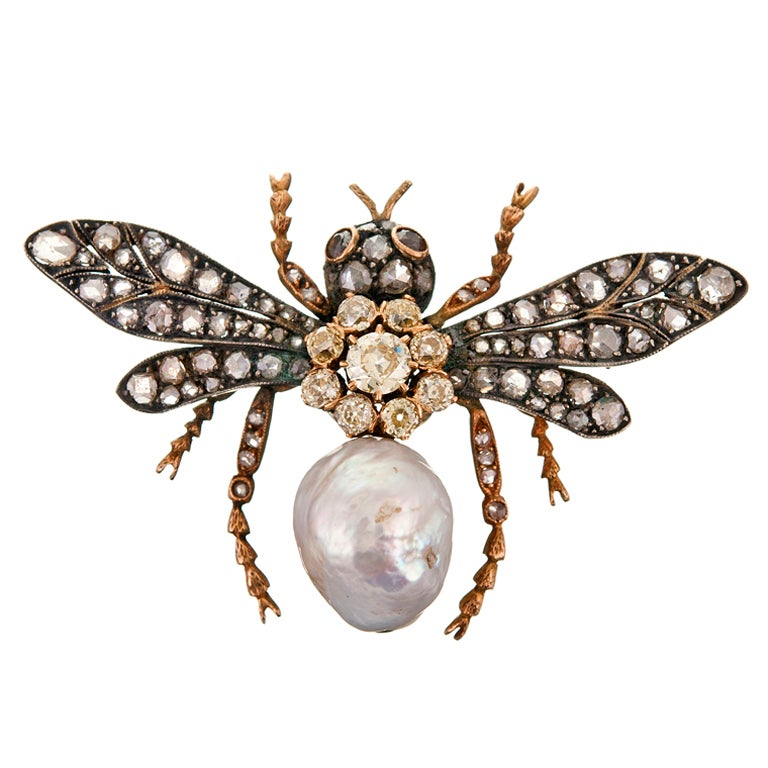 Yellow Diamond and Pearl Bee Brooch