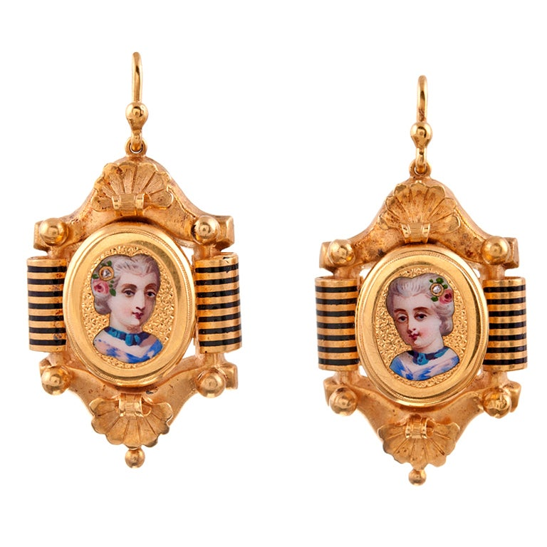 Victorian Enamel Yellow Gold Miniature Portrait Earrings circa 1875