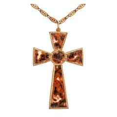 Victorian Agate Cross Pendant, circa 1890