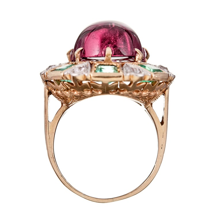 antique tourmaline and emerald ring at 1stdibs