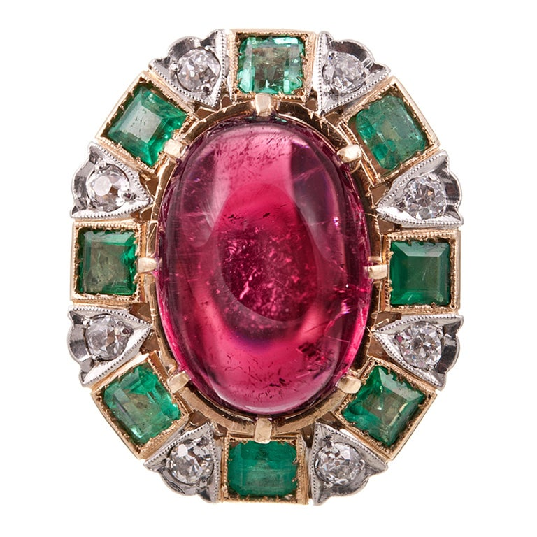 Antique Tourmaline Diamond And Emerald Ring At 1stdibs