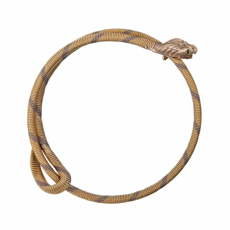 expandable gold quot snake quot bangle bracelet at 1stdibs