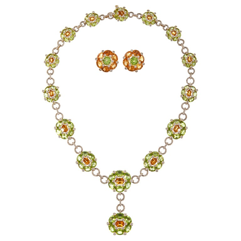 18 Karat Yellow Gold, Peridot, Citrine and Diamond Cluster Style Suite