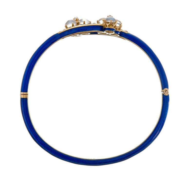 Antique Moonstone and Diamond Blue Enamel Yellow Gold Bracelet 2