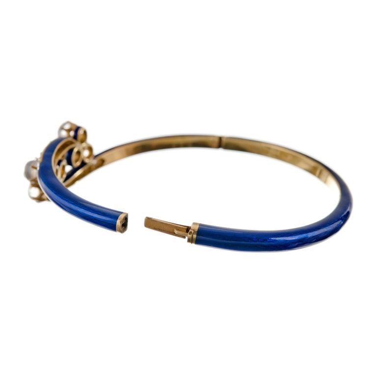 Antique Moonstone and Diamond Blue Enamel Yellow Gold Bracelet 3
