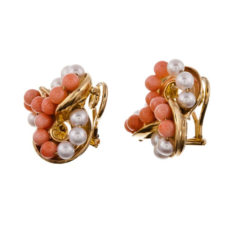 Seaman Schepps Coral Pearl Yellow Gold Ear Clips 2