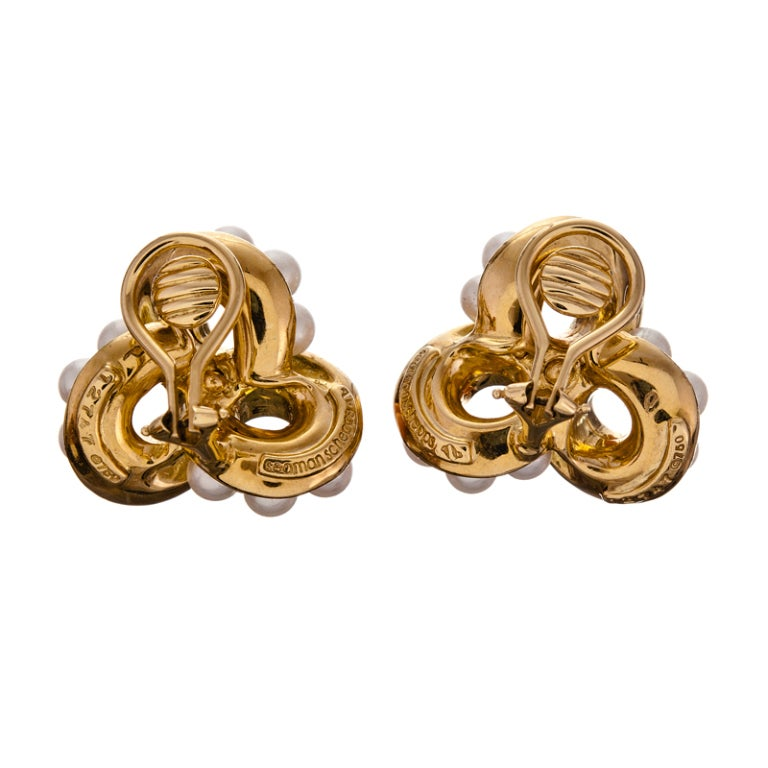 Seaman Schepps Coral Pearl Yellow Gold Ear Clips 3