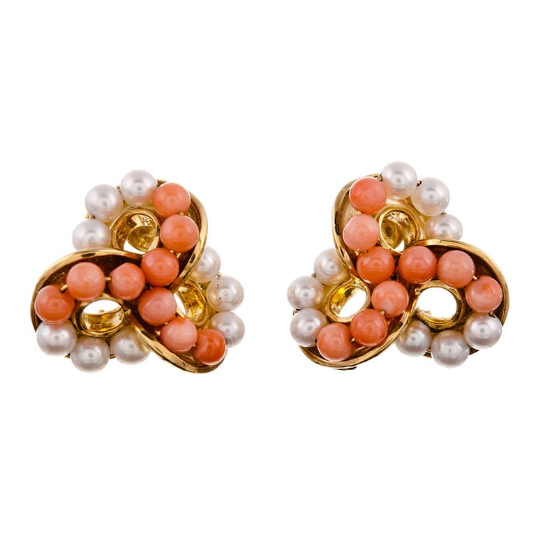 Seaman Schepps Coral Pearl Yellow Gold Ear Clips