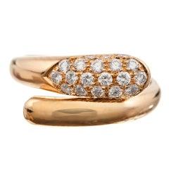 """BULGARI Diamond Yellow Gold Stylized """"Snake"""" Bypass Ring"""