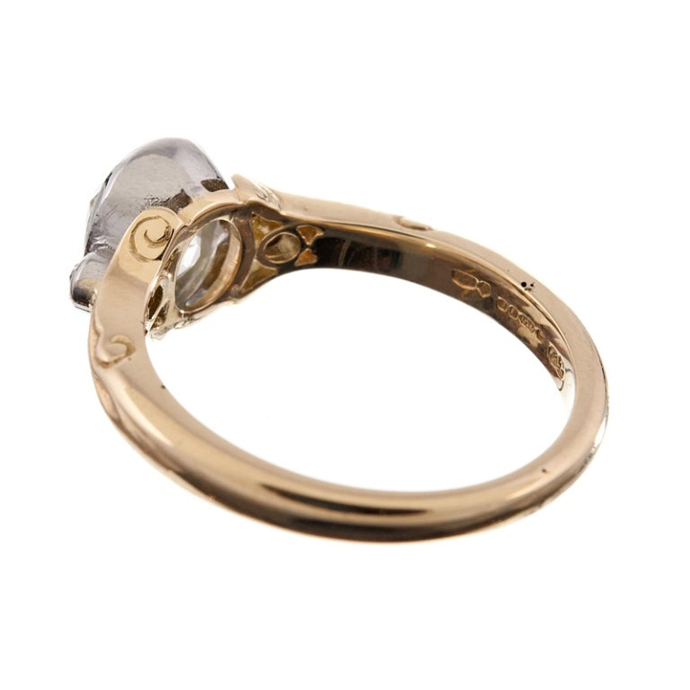 antique oval cut platinum and yellow gold