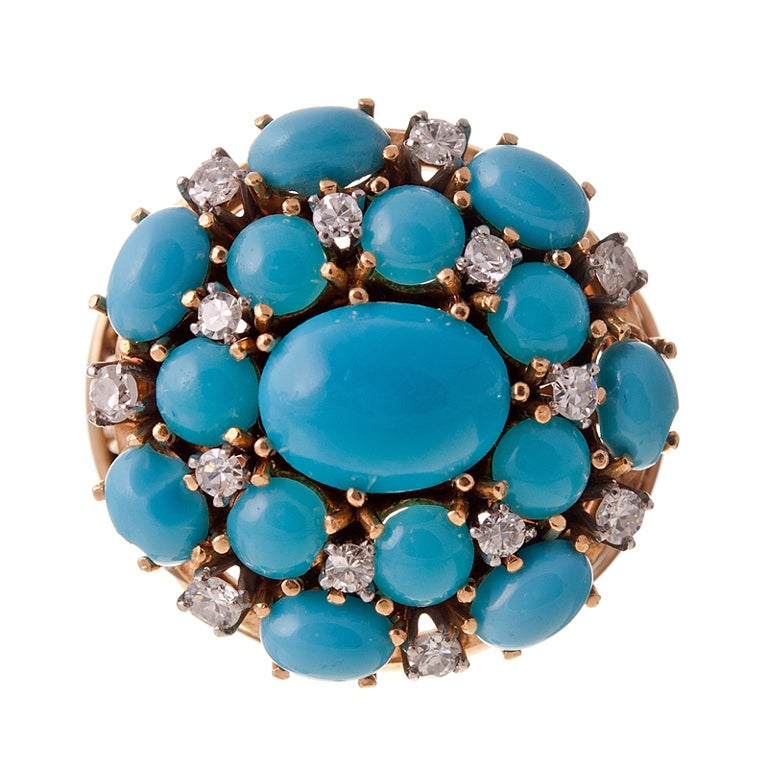 Turquoise Diamond and 18k Yellow Gold 1950s Cluster Ring For Sale