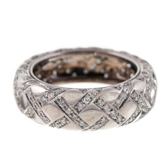 Signed ARFAN, Paris 18 Karat White Gold Quilted Eternity Band