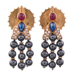 Unusual Contemporary BOUCHERON Earrings with Gemstones