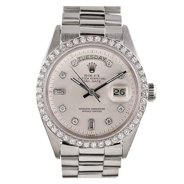 ROLEX Platinum and Diamond Day-Date Wristwatch Ref 1804 circa 1967 at ...