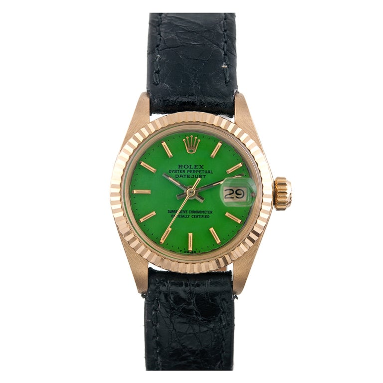 ROLEX Lady's Kelly Green Stella Dial Datejust circa 1970s 1