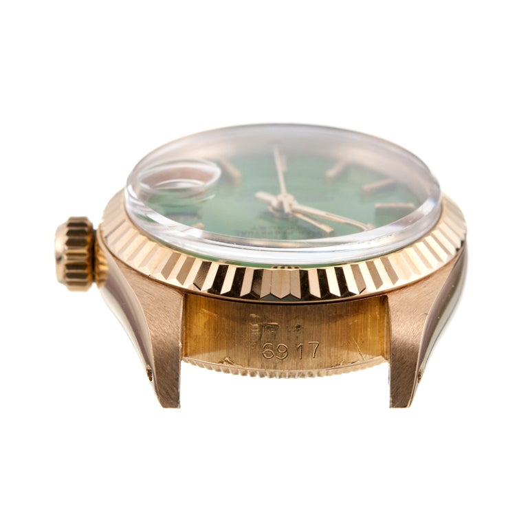 ROLEX Lady's Kelly Green Stella Dial Datejust circa 1970s 5