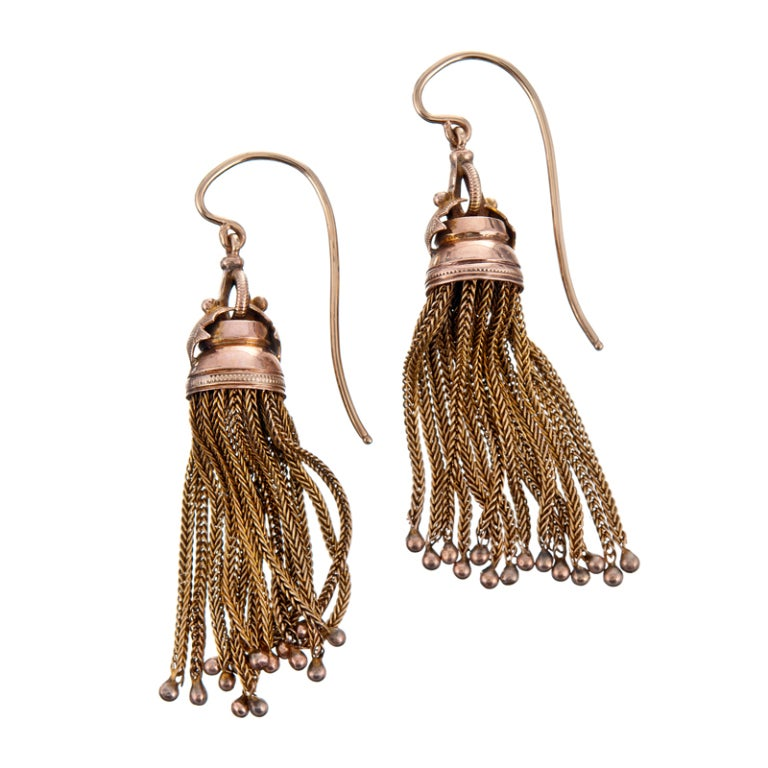 Antique Victorian Era American Gold Tassel Drop Earrings 2