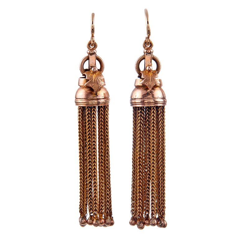 Antique Victorian Era American Gold Tassel Drop Earrings 1