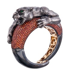Sabbadini Bold Orange Sapphire Hand-Textured Bangle Bracelet