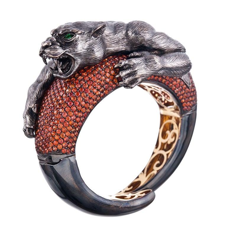 Sabbadini Bold Orange Sapphire Hand-Textured Bangle Bracelet