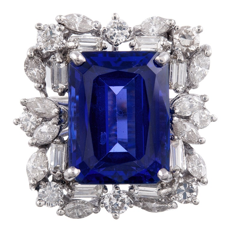 13.51 CT Tanzanite Baguette and Round Diamond Cluster Ring 1