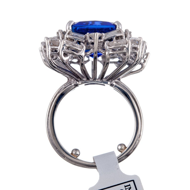 13.51 CT Tanzanite Baguette and Round Diamond Cluster Ring 4