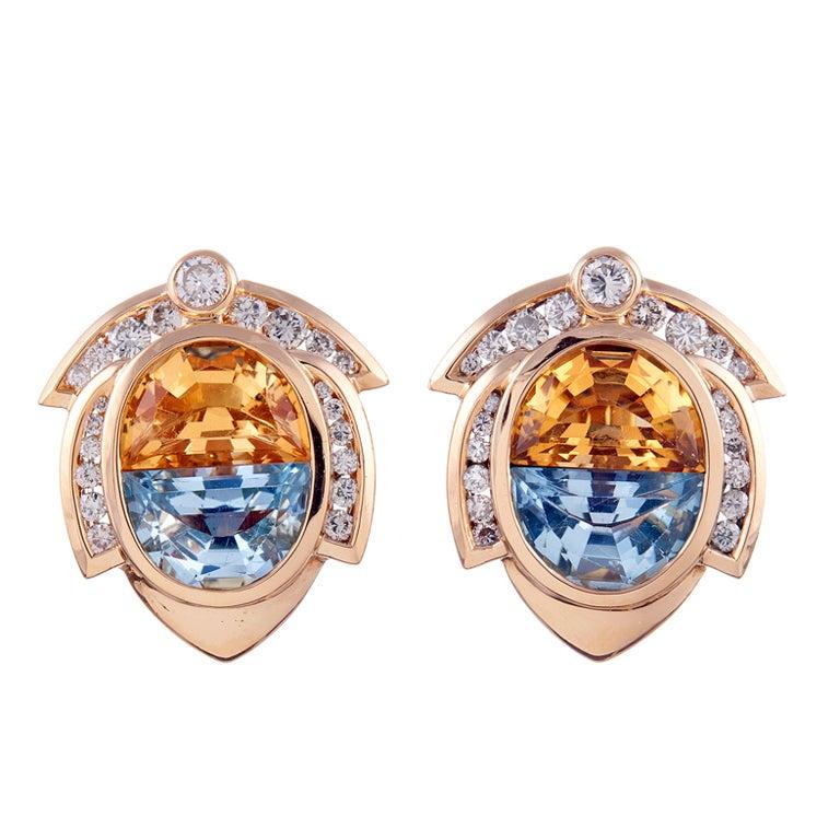 Contemporary Citrine Aquamarine Diamond Yellow Gold Earrings
