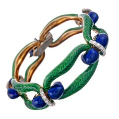 Pristine Kelly Green and Royal Blue Enamel Diamond Link Bracelet