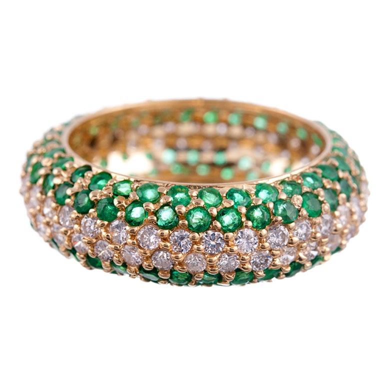 Yellow Gold Emerald And Diamond Eternity Band At 1stdibs