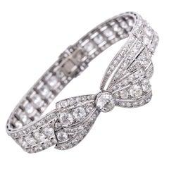 "Marvelous ""Convertible"" 1930s Platinum Diamond Bow Bracelet"